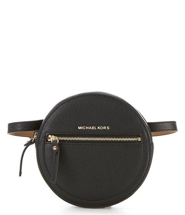 マイケルコース レディース ショルダーバッグ バッグ Circle Leather Belt Bag Black