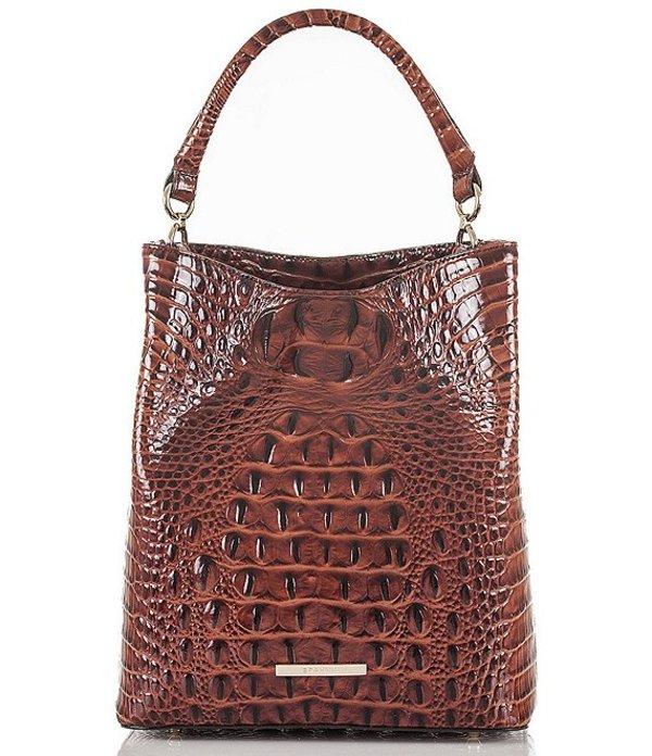 ブランミン レディース ショルダーバッグ バッグ Melbourne Collection Crocodile-Embossed Amelia Bucket Bag Pecan
