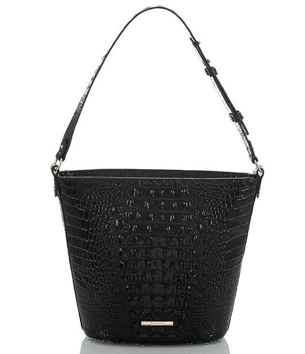 ブランミン レディース ショルダーバッグ バッグ Melbourne Collection Crocodile-Embossed Quinn Bucket Bag Black