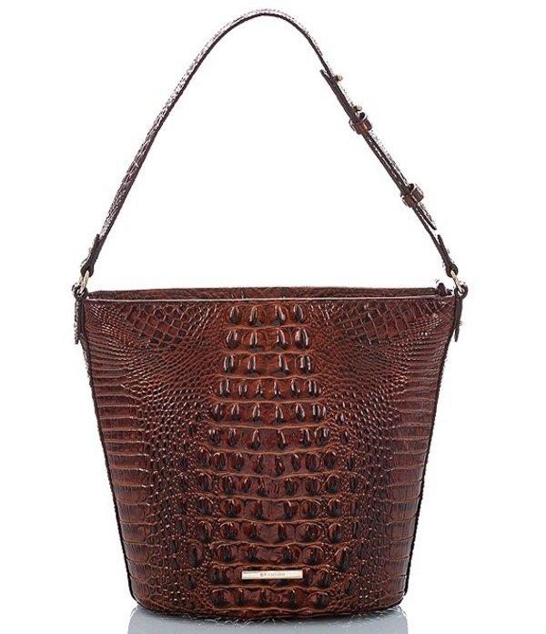ブランミン レディース ショルダーバッグ バッグ Melbourne Collection Crocodile-Embossed Quinn Bucket Bag Pecan