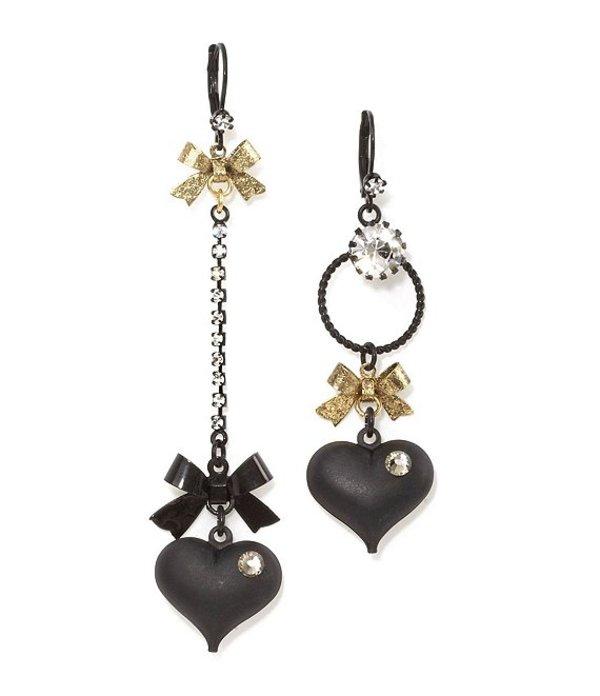 ベッツィジョンソン レディース ピアス・イヤリング アクセサリー Mismatched Bow and Crystal Heart Earrings Black
