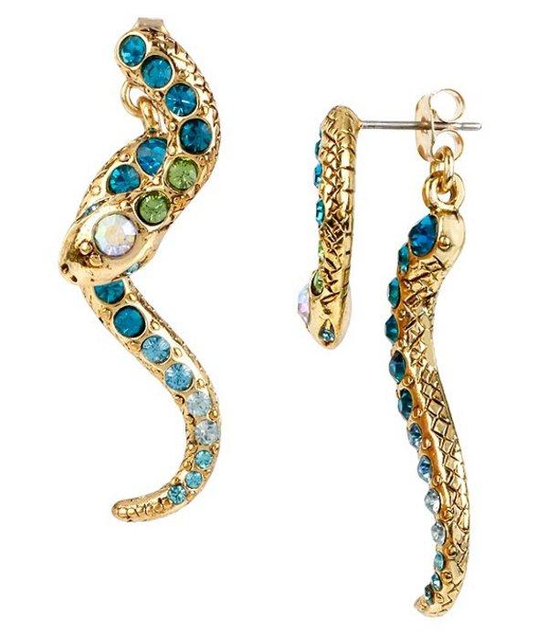 ベッツィジョンソン レディース ピアス・イヤリング アクセサリー Pave Crystal Snake Front/Back Statement Earrings Blue Multi
