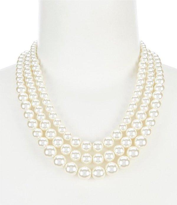 アンクライン レディース ネックレス・チョーカー アクセサリー Blanc Pearl Three Row Collar Necklace Pearl