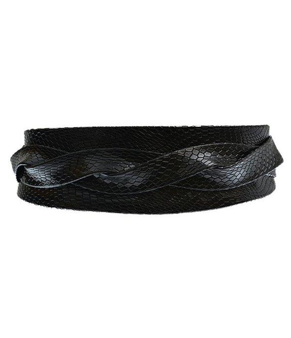 アダ レディース ベルト アクセサリー Classic Snake Skin Wrap Belt Black