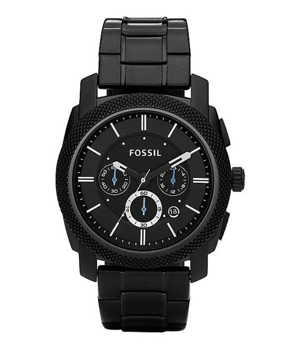 フォッシル メンズ 腕時計 アクセサリー Machine Black-Dial Chronograph Watch Black