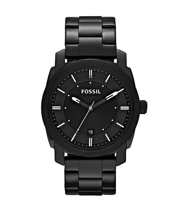 フォッシル メンズ 腕時計 アクセサリー Machine Black 3 Hand Stainless Steel Bracelet Watch Black