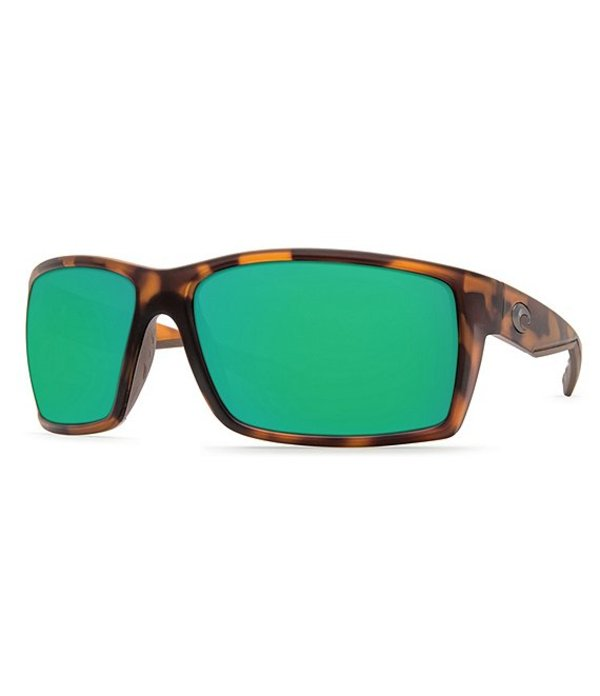 コスタ メンズ サングラス・アイウェア アクセサリー Reefton Matte Retro Tortoise Mirrored Polarized Rectangle Sunglasses Matte Retro Tortoise/Green