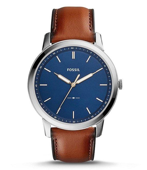 フォッシル メンズ 腕時計 アクセサリー The Minimalist Analog Leather-Strap Watch Brown