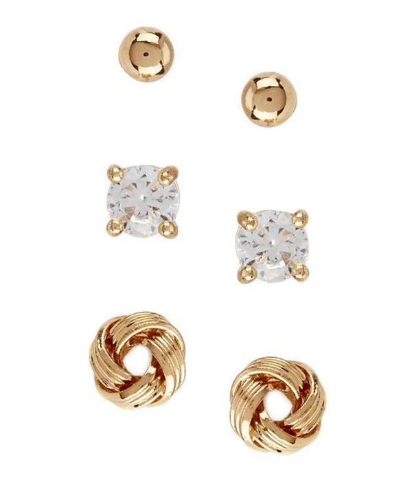 ディラーズ レディース ピアス・イヤリング アクセサリー Tailored Sterling Silver Stud Earring Set GOLD