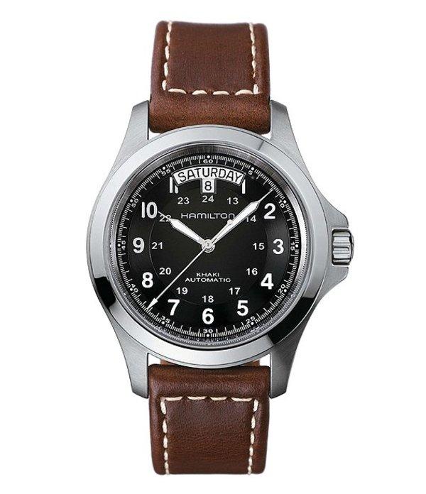 ハミルトン メンズ 腕時計 アクセサリー Khaki King Automatic Day & Date Leather-Strap Watch Black