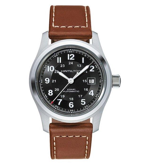 ハミルトン メンズ 腕時計 アクセサリー Khaki Field Automatic Brown Leather-Strap Watch Black