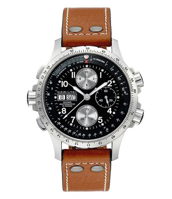 ハミルトン メンズ 腕時計 アクセサリー Khaki Automatic X-Wind Chronograph Watch Black