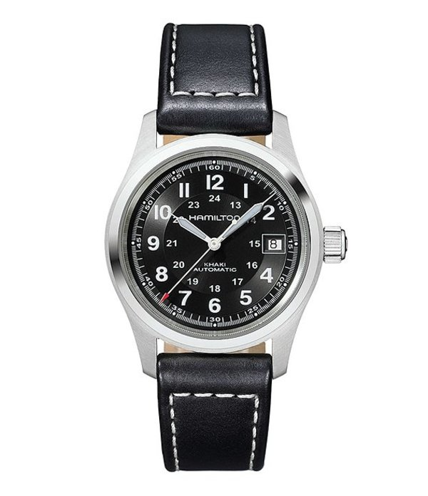 ハミルトン メンズ 腕時計 アクセサリー Khaki Field Automatic Black Leather-Strap Watch Black