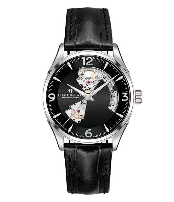 ハミルトン メンズ 腕時計 アクセサリー Jazzmaster Open Heart Automatic Leather-Strap Watch Black