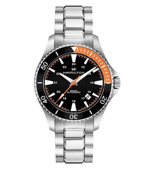 ハミルトン メンズ 腕時計 アクセサリー Khaki Navy Scuba Automatic Bracelet Watch Silver/Black/Orange