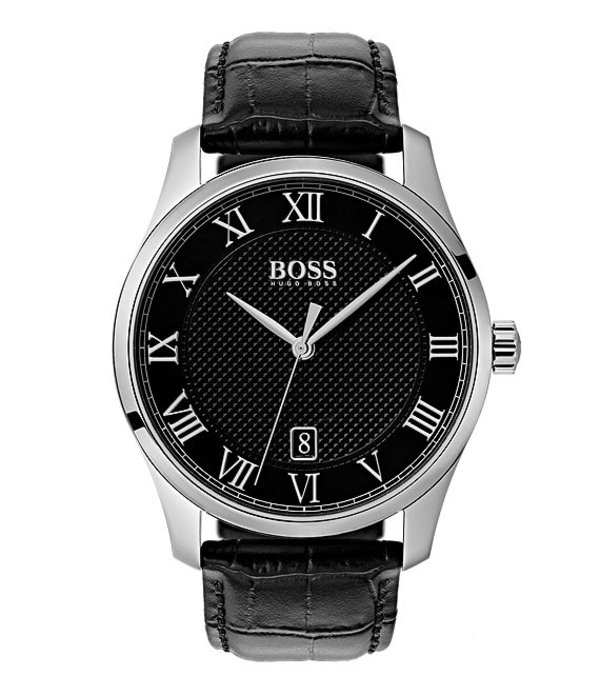 ヒューゴボス メンズ 腕時計 アクセサリー THE BOSS WATCHES MASTER COLLECTION Black Croc Leather Watch Black
