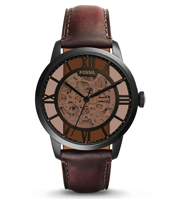 フォッシル メンズ 腕時計 アクセサリー Townsman Automatic Black IP Stainless Steel Watch Brown