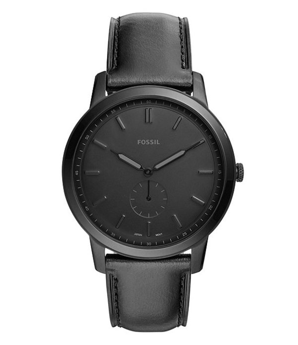 フォッシル メンズ 腕時計 アクセサリー Men's Leather Watch Black