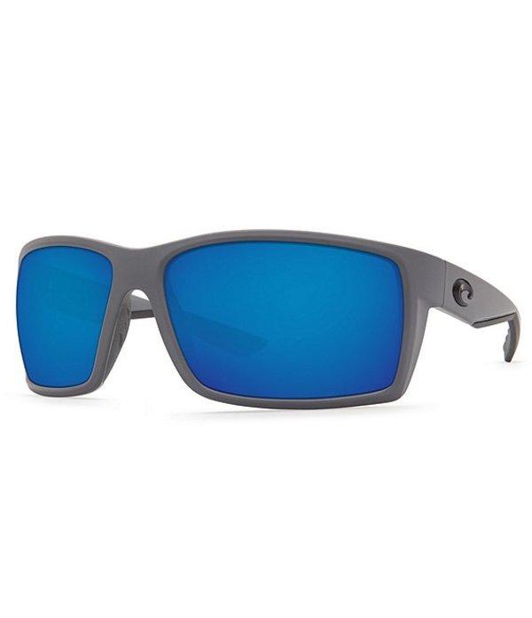 コスタ メンズ サングラス・アイウェア アクセサリー Reefton Blackout Polarized Mirrored Glass Rectangle Sunglasses Matte Grey/Blue Mirror