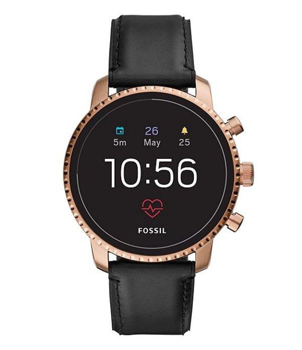 フォッシル メンズ 腕時計 アクセサリー Gen 4 Smartwatch - Q Explorist HR Black Leather Black
