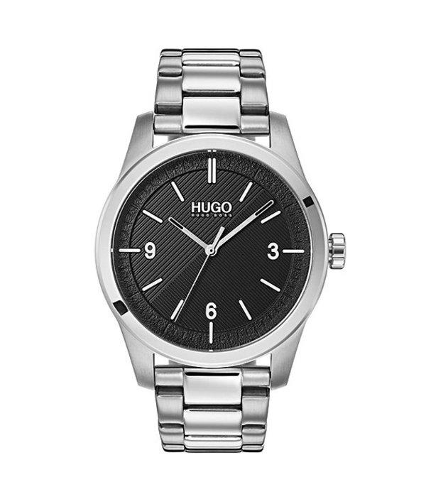 ヒューゴボス メンズ 腕時計 アクセサリー HUGO HUGO BOSS #Create Stainless Steel Black Dial Bracelet Watch Silver