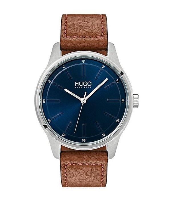 ヒューゴボス メンズ 腕時計 アクセサリー HUGO HUGO BOSS #Dare Brown Leather Strap Watch Brown