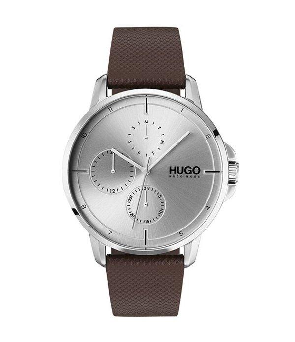 ヒューゴボス メンズ 腕時計 アクセサリー HUGO HUGO BOSS #Focus Brown Leather Strap Multifunction Watch Brown