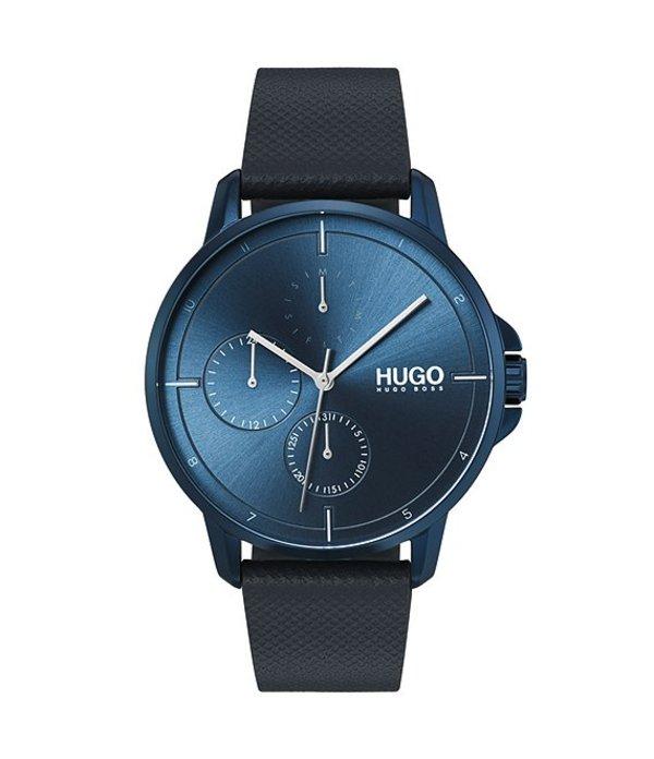 ヒューゴボス メンズ 腕時計 アクセサリー HUGO HUGO BOSS #Focus Blue IP Leather Strap Multifunction Watch Blue
