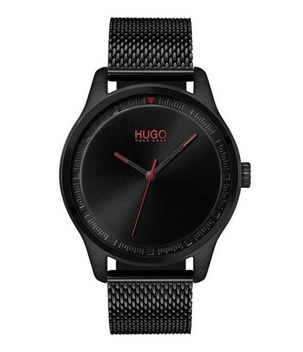 ヒューゴボス メンズ 腕時計 アクセサリー HUGO HUGO BOSS #Move 3-Hand Black IP Mesh Bracelet Watch Black
