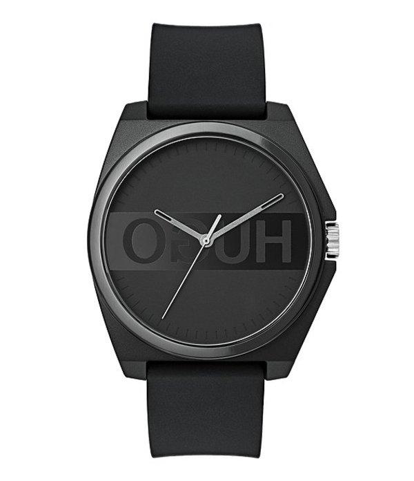 ヒューゴボス メンズ 腕時計 アクセサリー HUGO HUGO BOSS #Play Reverse Logo Dial Black Rubber Strap Watch Black
