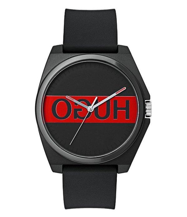 ヒューゴボス メンズ 腕時計 アクセサリー HUGO HUGO BOSS #Play Reverse Logo Dial Strap Watch Black