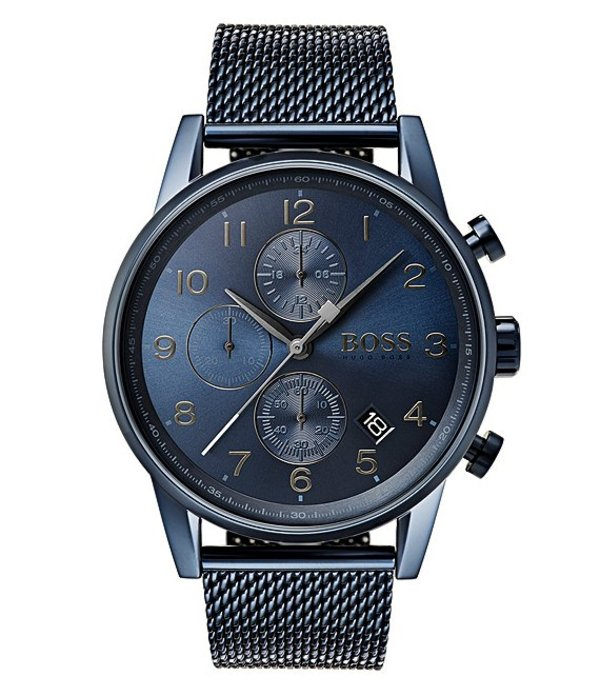 ヒューゴボス メンズ 腕時計 アクセサリー BOSS Hugo Boss Navigator Blue Mesh Chronograph Bracelet Watch Blue
