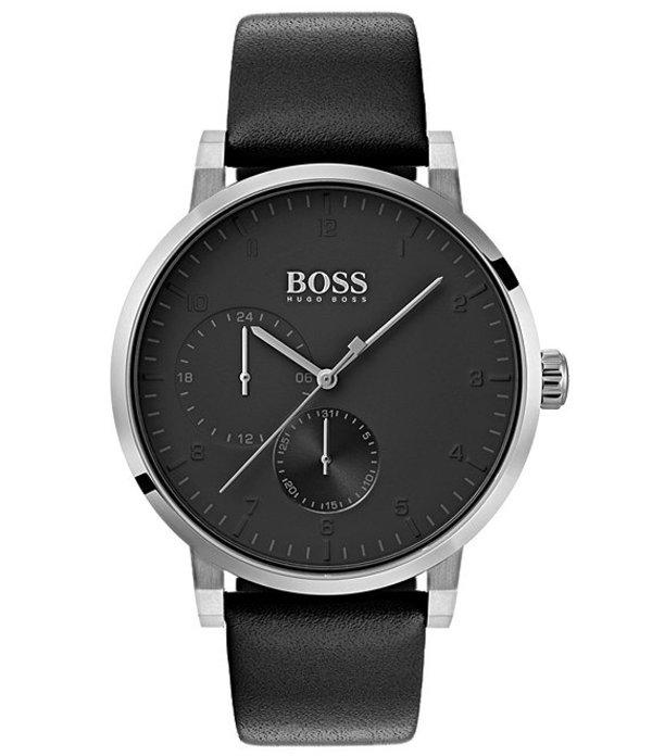 ヒューゴボス メンズ 腕時計 アクセサリー BOSS Hugo Boss Oxygen Black Leather Strap Multifunction Watch Black