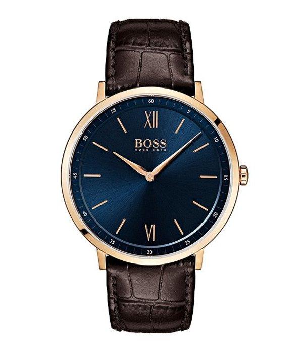 ヒューゴボス メンズ 腕時計 アクセサリー BOSS Hugo Boss Essential Ultra Slim Blue Dial Brown Croco Strap Watch Brown