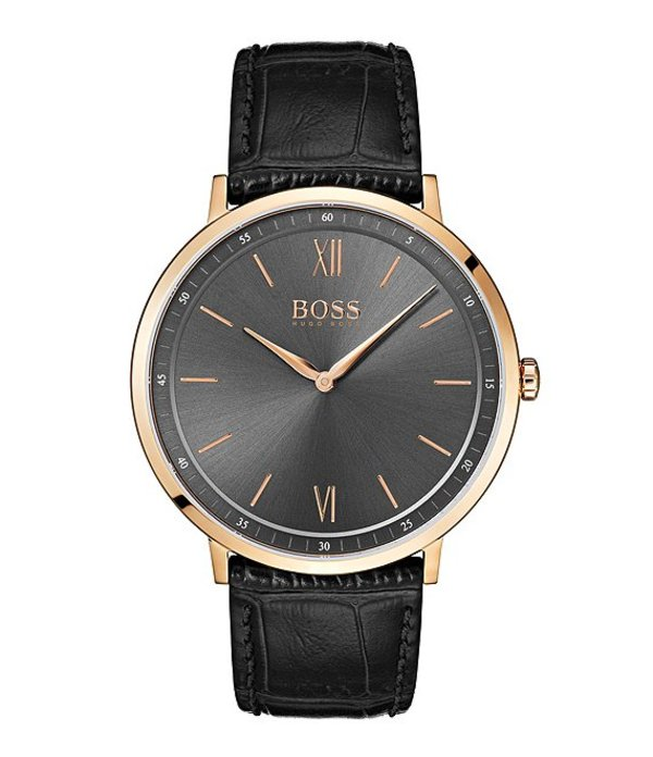 ヒューゴボス メンズ 腕時計 アクセサリー BOSS Hugo Boss Essential Ultra Slim Black Strap Grey Sunray Dial Watch Black