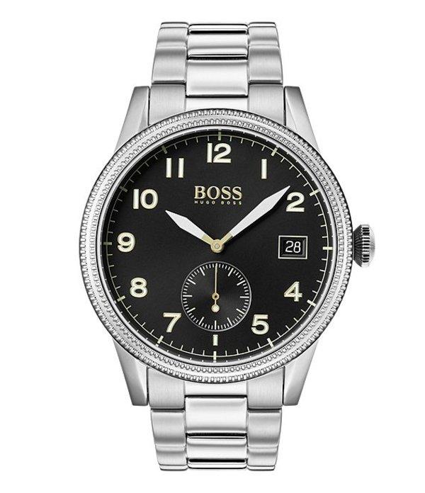 ヒューゴボス メンズ 腕時計 アクセサリー BOSS Hugo Boss Legacy Black Dial Watch Silver