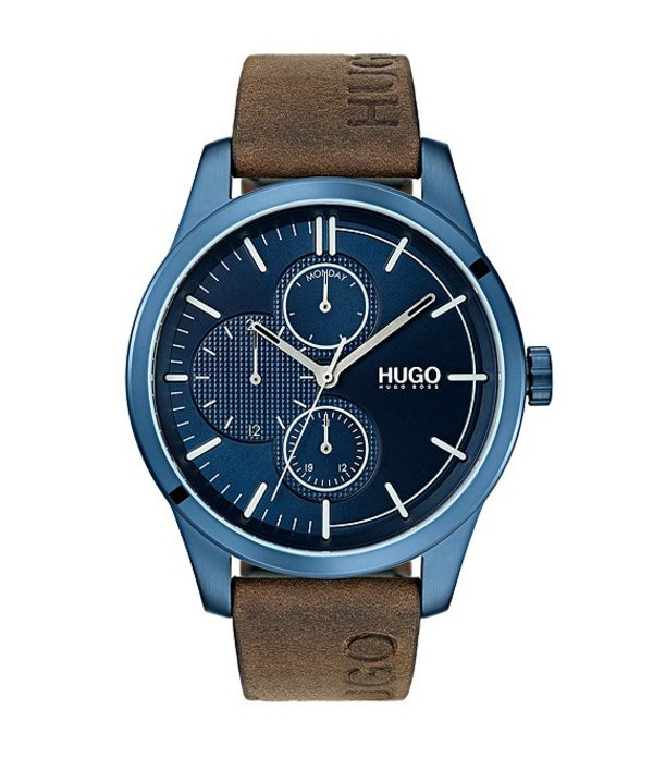 ヒューゴボス メンズ 腕時計 アクセサリー #Discover Brown Leather Watch Brown