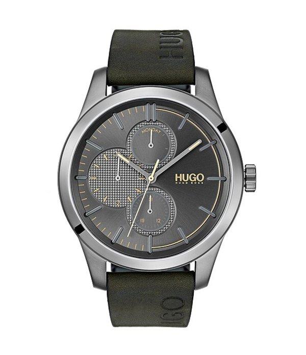 ヒューゴボス メンズ 腕時計 アクセサリー Discover Leather Watch Green