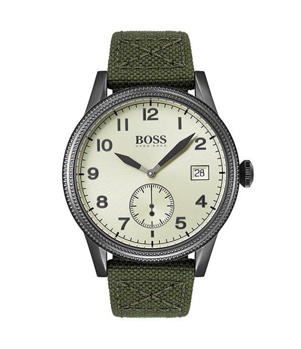 ヒューゴボス メンズ 腕時計 アクセサリー The Legacy Collection Green Strap Watch Grey