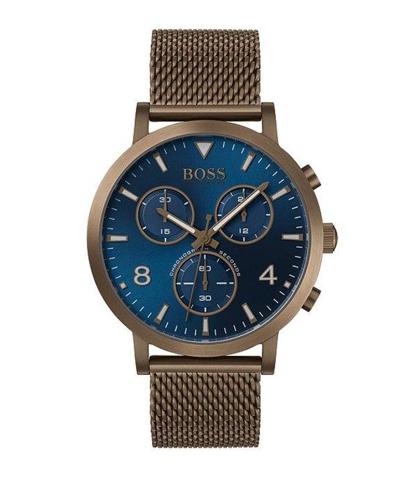 ヒューゴボス メンズ 腕時計 アクセサリー The Boss Spirit Collection Mesh Bracelet Watch Khaki