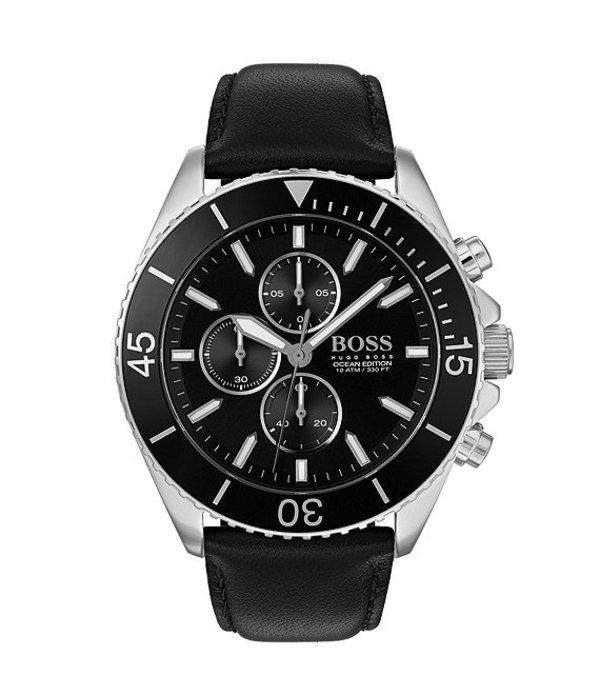 ヒューゴボス メンズ 腕時計 アクセサリー The Boss Ocean Edition Collection Black Leather Watch Black