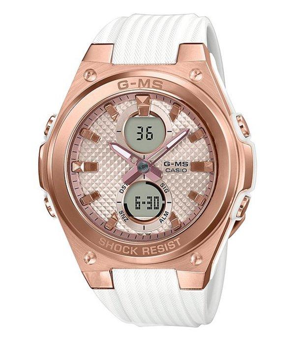 ジーショック レディース 腕時計 アクセサリー Ana Digi Rose Gold and White Shock Resistant Watch White