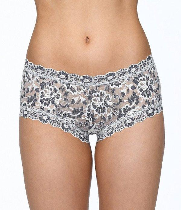 ハンキーパンキー レディース パンツ アンダーウェア Cross-Dyed Lace Boy Short Panty Ivory/Coal
