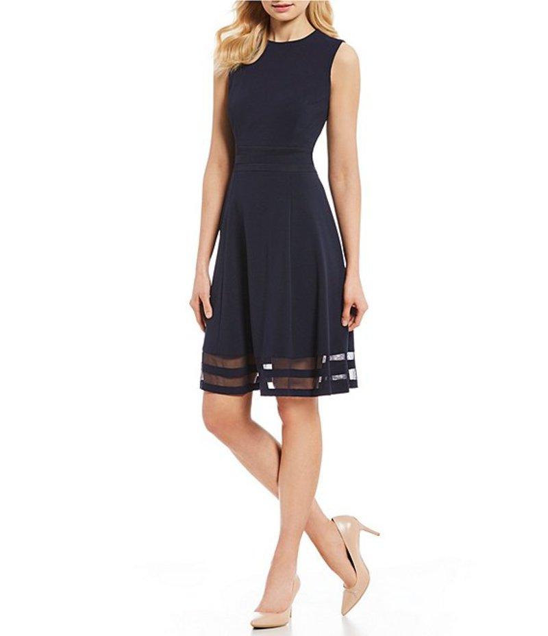カルバンクライン レディース ワンピース トップス Round Neck Sleeveless Illusion Hem Crepe A-Line Dress Indigo