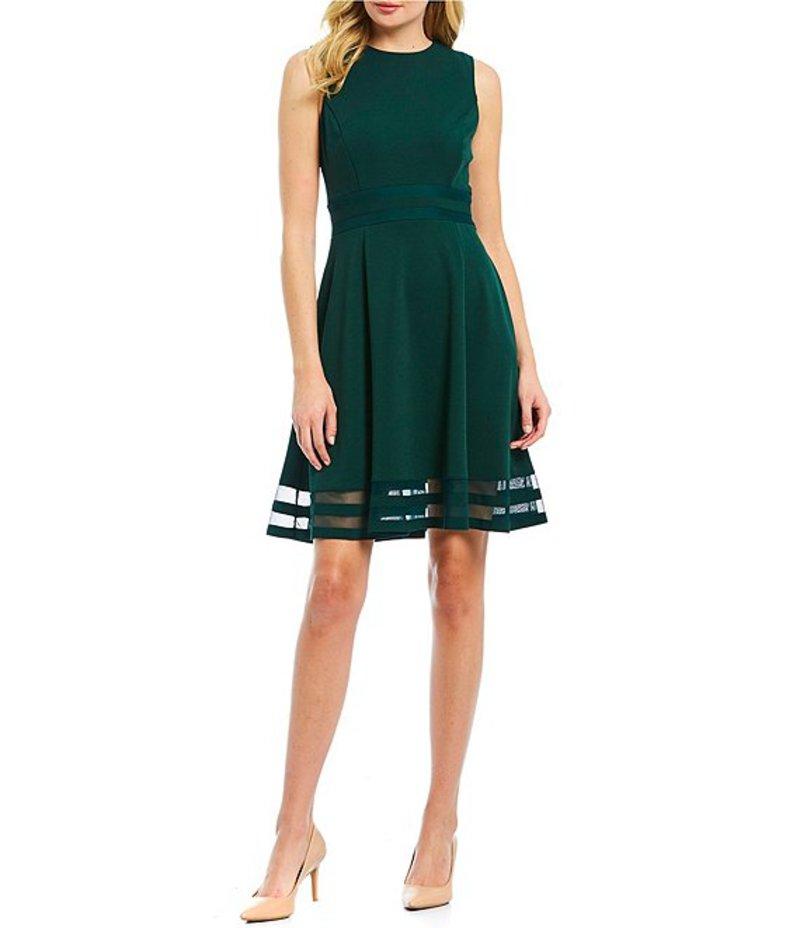 カルバンクライン レディース ワンピース トップス Round Neck Sleeveless Illusion Hem Crepe A-Line Dress Malachite