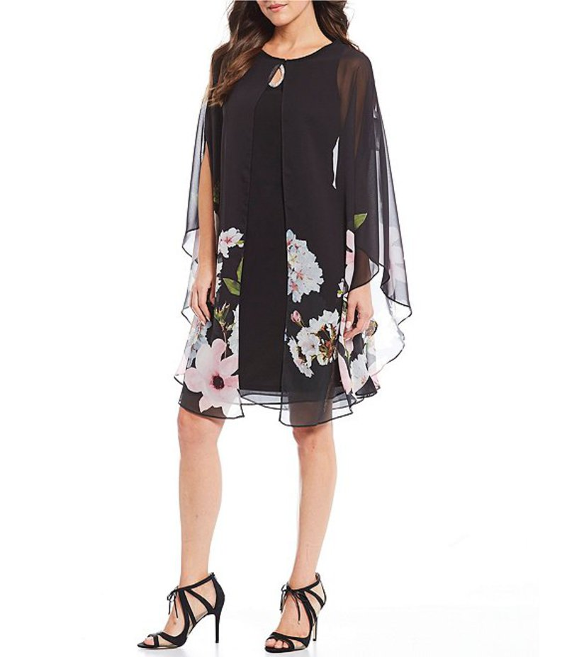 イグナイト レディース ワンピース トップス Beaded Keyhole Detail Capelet Floral Print Jacket Dress Black/Multi