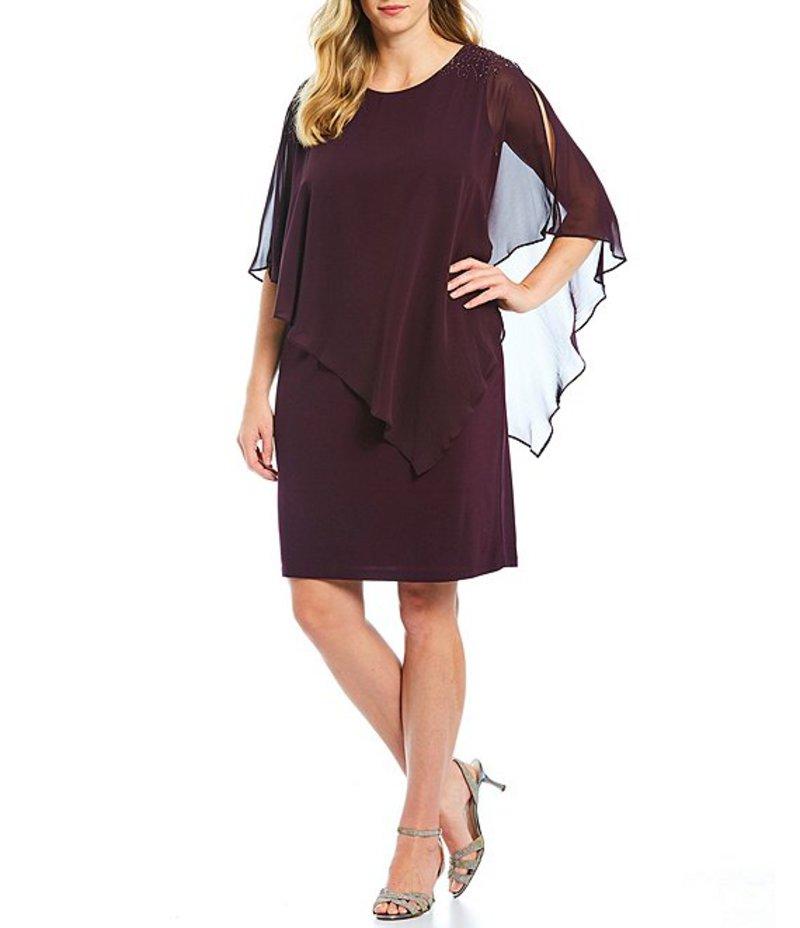 イグナイト レディース ワンピース トップス Plus Size Chiffon Asymmetric Overlay Beaded Shoulder Sheath Dress Aubergine