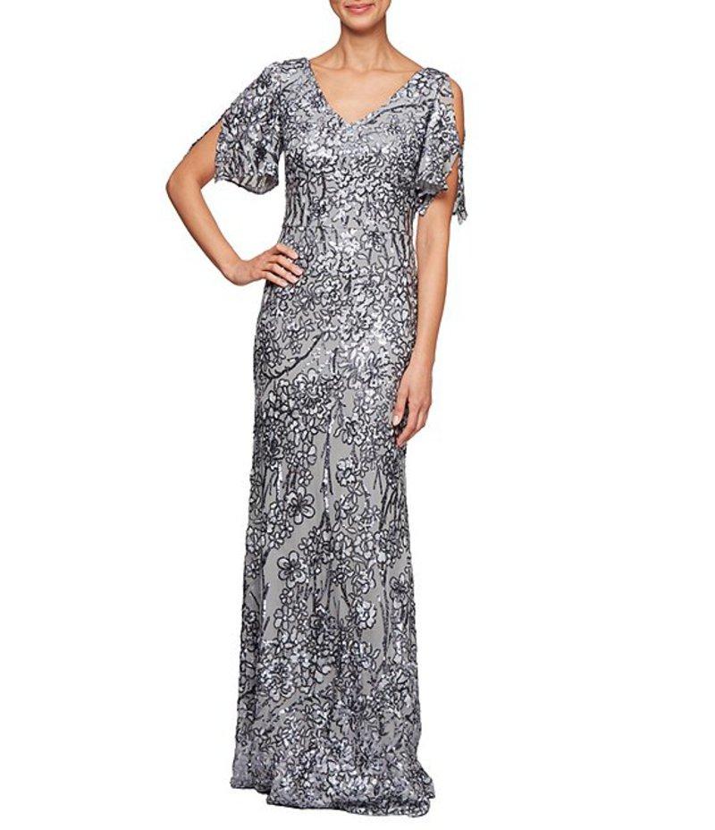 アレックスイブニングス レディース ワンピース トップス Sequin A-Line Flutter Cold Shoulder Sleeve Long Gown Silver