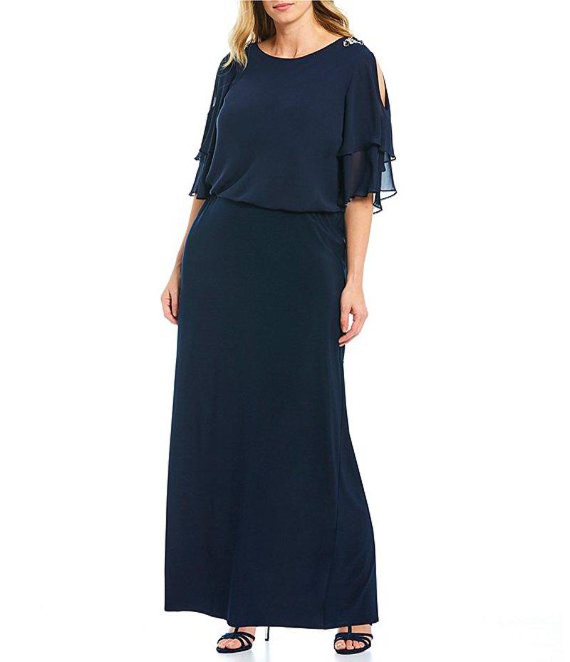 アレックスイブニングス レディース ワンピース トップス Plus Size Tiered Embellished Cold Shoulder Blouson Gown Navy