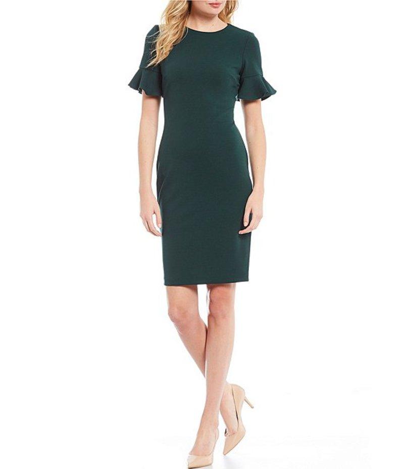 カルバンクライン レディース ワンピース トップス Short Ruffle Sleeve Solid Sheath Dress Malachite